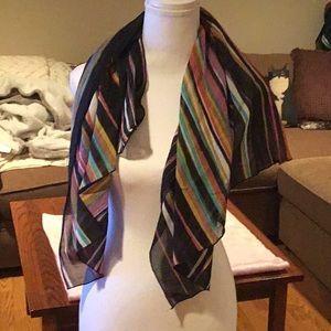 Pretty Sheer Multi color striped scarf